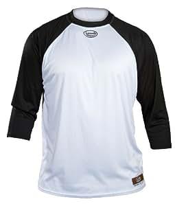 Louisville Slugger Adult Slugger Loose-Fit 3/4 Sleeve Shirt, White/Black, Small