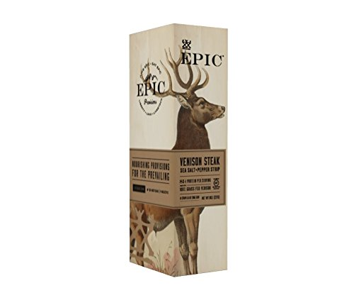 Epic 100  Grass Fed Venison Sea Salt   Pepper Steak Strip  0 8 Ounce  Pack Of 10