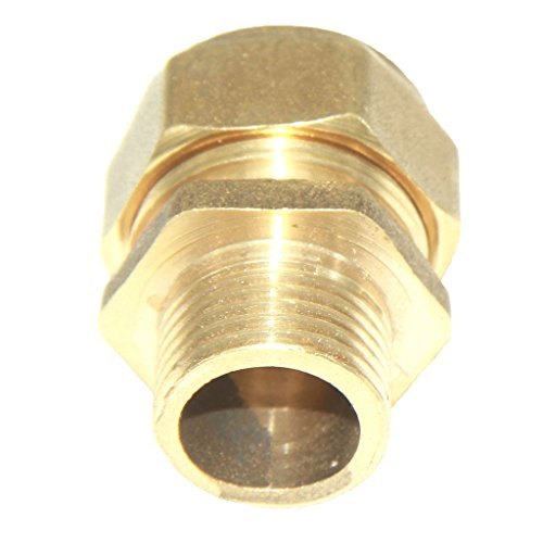 S20 Connector - MonkeyJack Brass Barbed Screw Compression Male Aluminum Pipe Fitting Thread Coupling Connector Joint - Yellow, S20 1/2''