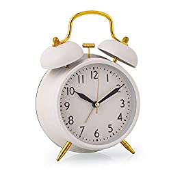 Loud Alarm Clock for Girls, 4 Inch Silent Non-Ticking Quartz Double Twin Bell Alarm Clock Battery Operated Classic Tabletop Desk Alarm Clock for Bedroom, Milk
