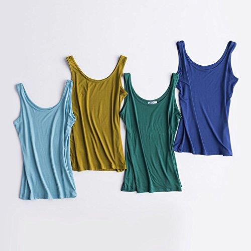 YMFIE Chaleco de respaldo Simple Moda Mujer Delgada Blusa Camiseta Sin Mangas de Verano Modal