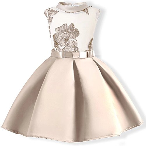 AYOMIS Baby Girl Dress Party Wedding Flower Dresses Sleeve Gowns(Apricot,7-8Y)