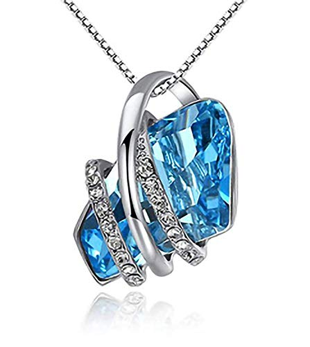 - Ann Benz Collections - Stunning Women's Jewelry Focal Pendant Necklace Aquamarine Wish Stone with Rhodium Plated Base Metal
