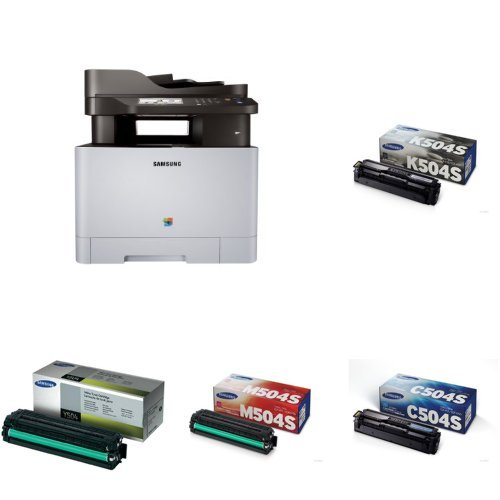 Samsung SL-C1860FW Wireless Color Printer with Scanner/Copier/Fax and CLT-504S Toner (Black, Cyan, Magenta, and (Cyan Fax)