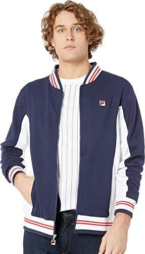 (Fila Men's Settanta Jackets, Peacoat, White, Chinese Red, XL)