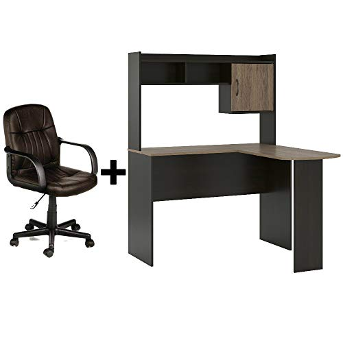 Corner L Shaped Wood Home/Office Desk with Hutch in Espresso/Rustic Oak + Leather Mid-Back Chair in Brown - Bundle ()