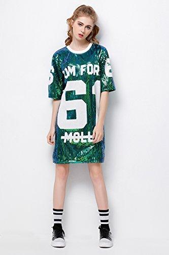 d93009c10 P&R Sparkle Glitter Sequins Hip Hop Jazz Dancing T-Shirt Dress Plus ...