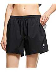 SS COLOR FISH Womens Sports Running Shorts with Pockets, Quick Dry Workout Gym Athletic Shorts for Women
