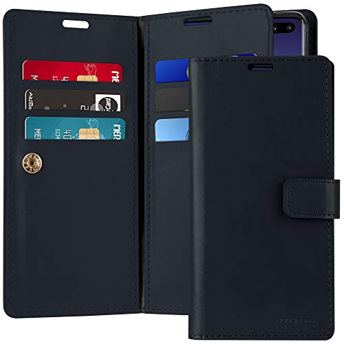 Galaxy S10 Plus Case [Double Sided Wallet Case] GOOSPERY Mansoor Diary [Extra Card & Cash Slots] Premium PU Leather Flip Cover (Navy) S10P-MAN-NVY
