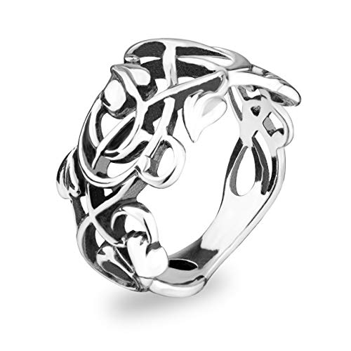 (Sterling Silver Filigree Vintage style Rings for Women Swirl Vine Leaf Ring Elvish Elf Floral Jewelry)