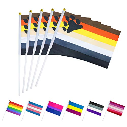 - LoveVC 50 Pack Male Bear Gay Pride Flag Small Mini LGBT Rainbow Stick Flags,Gay Rainbow Pride Party Decorations Supplies