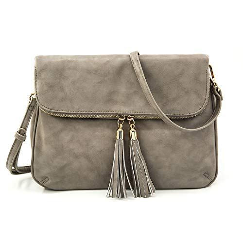 EMPERIA Women's Fold Flap Tassel Zipper Leather Crossbody Bag - Flap Small Bag