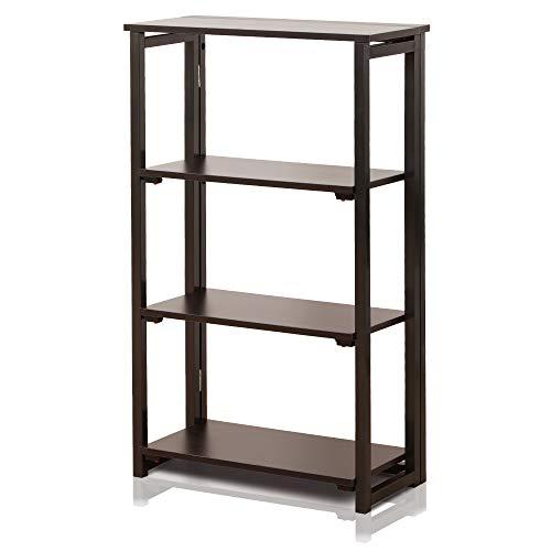DELMANGO Folding Bookshelf Rack 3-Tier Portable Ladder Shelf No Assemble Industrial Stand Sturdy Organizer for Home Office,23.6 x 11.4 x 40 inches