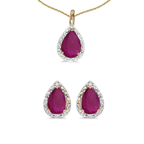 10k Yellow Gold Pear Ruby And Diamond Earrings and Pendant Set (Ruby Gold Jewelry Set)