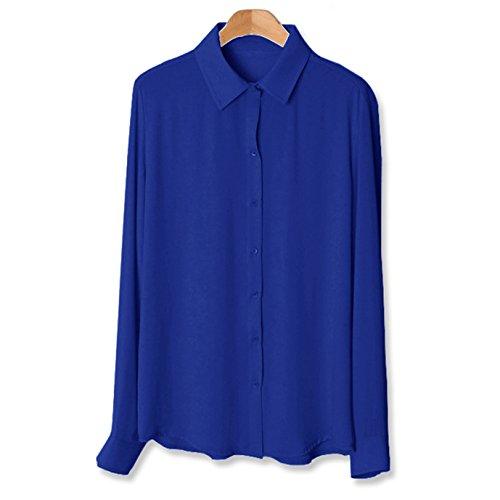 BaronHong mujeres diseñador de moda verano más tamaño de manga larga blusa de gasa Azul