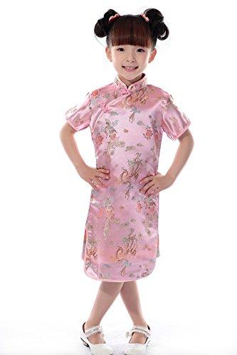 AvaCostume Girls Chinese Dragon Phoenix Qipao Cheongsam Dress, 4, Pink
