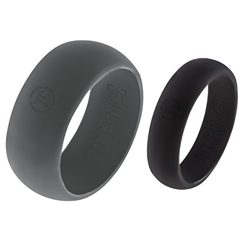 Fit Ring Silicone Wedding Ring His & Hers Set   2 Pack Rubber Wedding Band   Solitaire Engagement Bands 8.7 mm & 5.5 mm