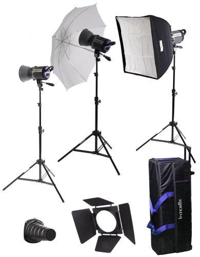Interfit INT448 Stellar X 600 Watt/Second 3 Head Kit with Softbox, Umbrella and B by Interfit