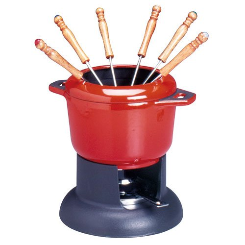 Chasseur Fondue set with removable rim, with 6 forks Traditional Red 1183002 Cookware Fondue Sets Cast Iron