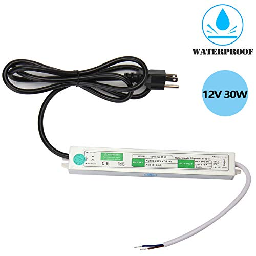 SUPERNIGHT DC 12V 30W Waterproof Power Supply Driver AC 110-260V to DC 12 Volt 2.5A Constant Voltage Adapter Transformer for LED Strip,Computer Project, Outdoor Light ()