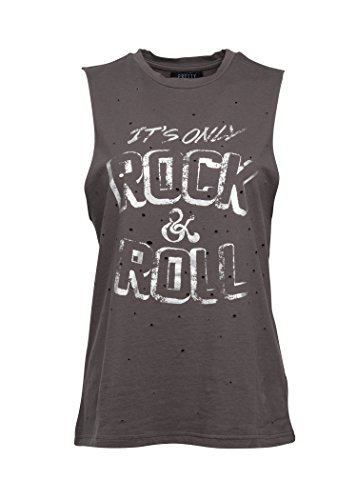 Glam and Gloria Womens It's Only Rock N Roll Distressed Tank Top Tee – Size (Roll Band)