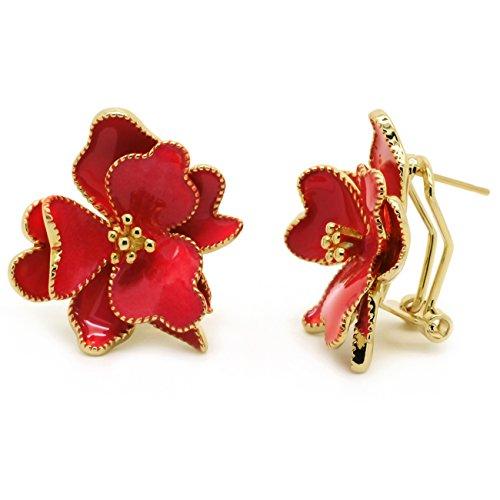 Red Flower Stud Earrings Enamel Wild Rose Gold Plated Women Fashion Omega Back