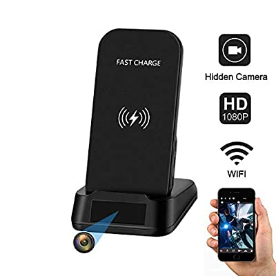 Hidden Camera WiFi Spy Camera,Kaposev Qi Certified Fast Wireless Charger,1080P HD Security Camera Spy Nanny Cam with Motion Detection Alarm,IOS/Android APP Remotely Watch and Live View & Video Record by KAPOSEV