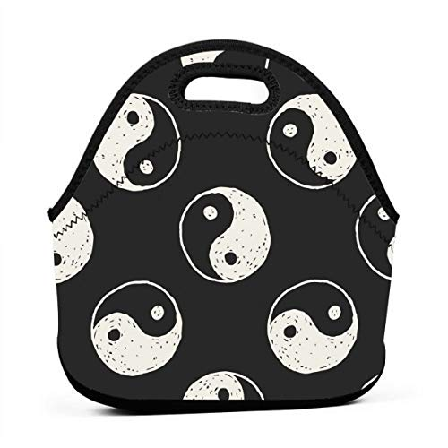 Chinese Taiji Lover Yinyang China Insulated Neoprene Lunch Bag Tote Handbag lunchbox Food Container Gourmet Tote Cooler warm Pouch For School work Office