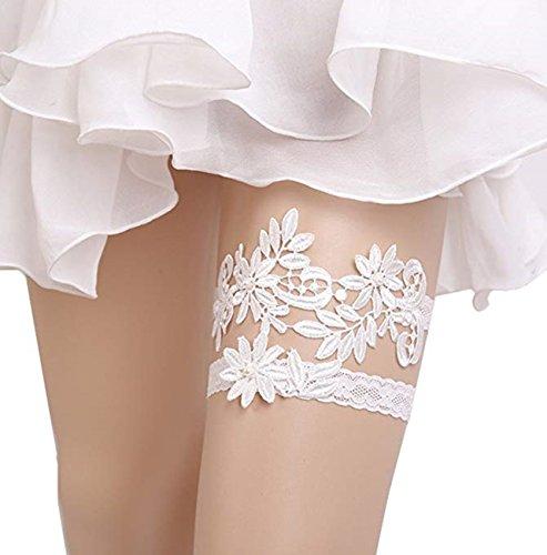 M_Eshop Women Wedding Bridal Garter with Pearl Lace Garter Set (White-1) by M_Eshop
