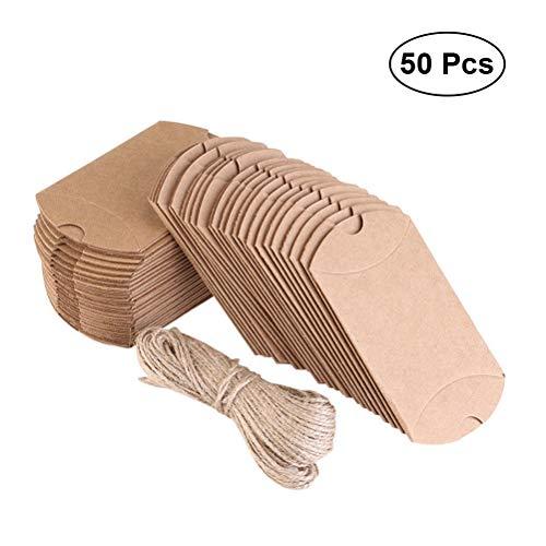STOBOK 50 unids Papel Kraft Creativo Caja de Papel de Bricolaje Caja de Dulces de Boda Caja de Regalo Retro del Banquete de...