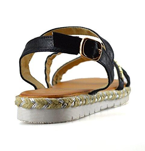 Damen Niedriger Sommer Schwarz Schuhe Clowse Espadrilles Keilabsatz Sandalen Damen fFWFU4g