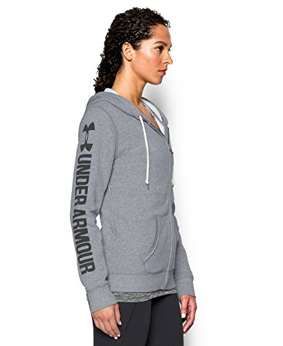 UA Favorite Fleece Word Mark Full Zip Hoodie Large True Gray Heather (Wordmark Full Zip Hoodie)