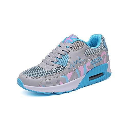 Course Gris Sport Chaussures Gym Style Baskets Lacet Respirante Running Air Multicolore Bleu 916 Femme Fitness Ochenta Sneakers xXqREwTRZ