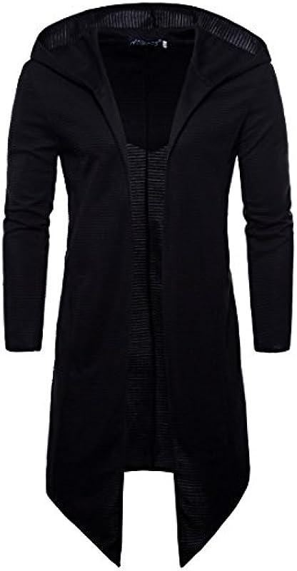Elonglin męska kurtka z kapturem Cardigan, lekka kurtka jednokolorowa, asymetryczny brzeg z bawełny, płaszcz na wiosnę, jesień, kurtka z dzianiny: Odzież