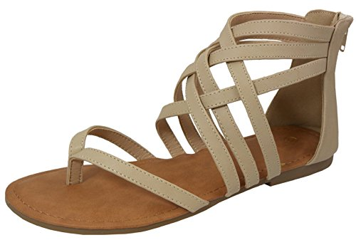 Cambridge Select Women's Crisscross Strappy Cutout Gladiator Thong Flat Sandal (7.5 B(M) US, Beige) ()