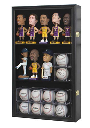 Pro UV Display Case Cabinet Holder Wall Rack for Bobble Head Figurine Baseball Cubes Display
