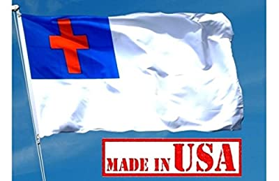US Flag Factory - 3'x5' Christian Flag (Sewn Cross) - 100% American Made - Outdoor SolarMax Nylon - Premium Quality