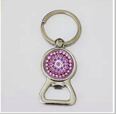 Purple Flower Bottle Opener Key Chain,Mandala Millefiori Floral Bottle Opener Key Chain,With Ball Chain Bottle Opener Key Chain,Gift for Women (Millefiori Rose)
