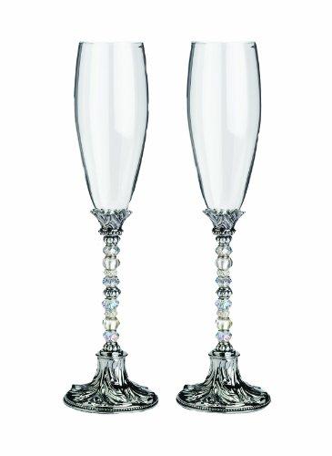 Lillian Rose Toasting Glasses (Lillian Rose Silver Crystal Glass Beaded Toasting Glasses)