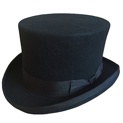 Wool Felt Top Hat Adult (Black Wool Felt Low Top Hat For Men Women 5 1/4