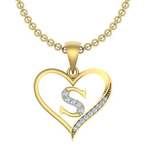 Buy Kanak Jewels Initial Letter S In Brass Heart Shaped Pendant