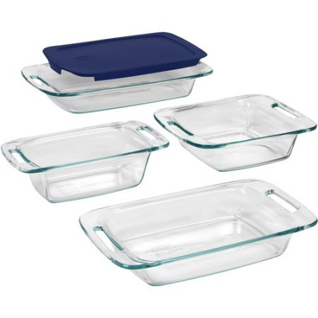 Premium Deluxe Quality Pyrex Easy Grab 5 piece Set with 1-ea 3-Quart oblong and Blue Plastic Cover 2-Quart Oblong 8-Inch Square 1.5-Quart Loaf -
