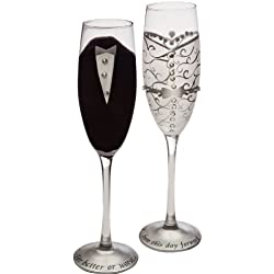 "Cypress Home Hand-Painted 8 oz. Bride and Groom Wedding Champagne Toasting Flute Glasses, Set of 2 - Metallic Accents - 6.75""W x 4""D x 11""H"