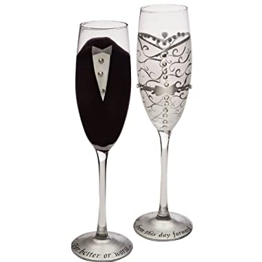 Set of 2 Handpainted Bride & Groom Champagne Toasting Flute Glasses 9