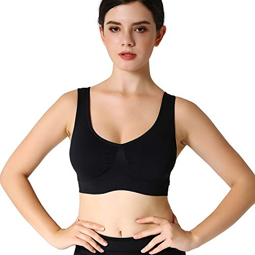JOJOANS Sports Bras for Women,Seamless Wireless Comfortable Stretchy Yoga Bra with Removable Pads(Black-M)