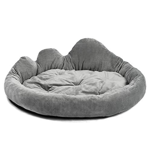 YUNNARL Indestructible Dog Bed Cloud Shape Ultra Soft Pet Bed Self-Warming Burrow Dog Bed Anti-Slip Waterproof Bottom Cat Bed Machine Washable Dog Kennel Bed Available in Grey
