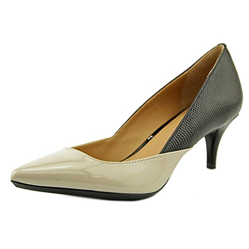 Calvin Klein Womens Patna Leather Pointed Toe Classic, Greige/Black, Size 5.5