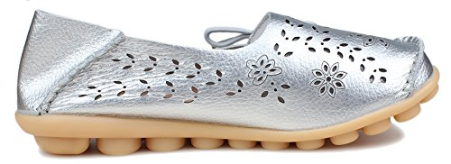 Kunsto Womens Leather Casual Loafer Flat Shoes Silver(floral) ew5ikfpc0