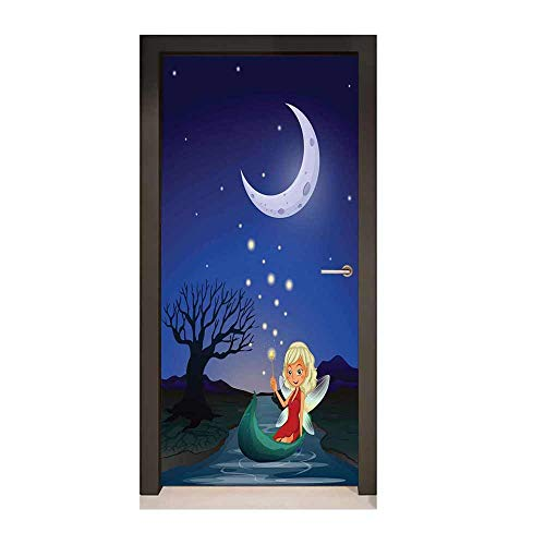 (Fantasy Decorative Door Sticker Elf Pixie Sitting on The Boat Under Full Moon Sky Night Magic Fairy Girlish Graphic Removable Vinyl)