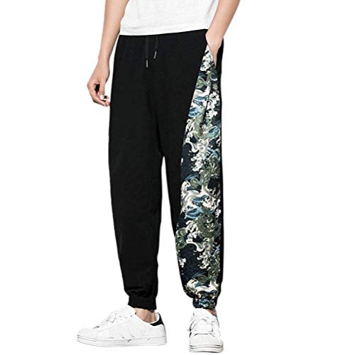 Black Pants Baggy Mens Casual Hippie Harem Stile Traspirante Lanceyy Cotone Semplice Teens In cyan Boho Morbido Pantaloni Aladdin qFawSg
